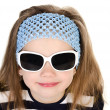 Portrait of cute smiling little girl in sunglasses isolated — Stock Photo