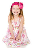 Portrait of cute smiling little girl isolated — Stock Photo