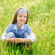 Cute little girl on the meadow — 图库照片