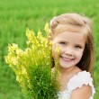 Smiling cute little girl with flowers on the meadow — Stock Photo