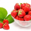 Red strawberry in the bowl isolated  — Stock Photo