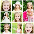 Stock Photo: Collage of adorable little girl on meadow in summer