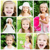 Collage of adorable little girl on the meadow in summer — Stock Photo