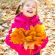 Autumn portrait of cute laughing little girl with maple leaves — Stock Photo #33275831