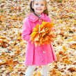 Autumn portrait of cute smiling little girl with maple leaves — ストック写真