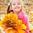 Autumn portrait of cute smiling little girl with maple leaves — Stock Photo #33325011