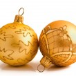 Two golden christmas balls isolated on a white — Stock Photo