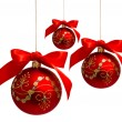 Red christmas balls with ribbon isolated on a white — Stock Photo