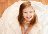 Happy adorable little girl in princess dress — Stock Photo