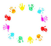 Hand prints of child isolated on a white — Stock Photo