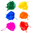 Shot of colored paints splashes blobs isolated — ストック写真
