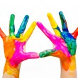 Stock Photo: Painted child hands colorful fun isolated