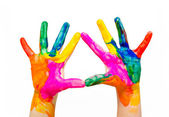 Painted child hands colorful fun isolated — Stock Photo