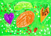 Kid's drawing kitchen garden — Stock Photo