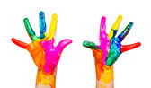 Painted child hands colorful fun isolated on white — Stock Photo