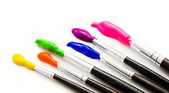 Six paint brushes with gouache isolated on white — ストック写真