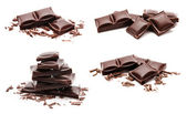 Collection of chocolate bars stack isolated on a white — Stock Photo