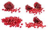 Collage of ripe pomegranate fruit seeds isolated on a white — Stock Photo