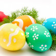 Colorful easter eggs isolated over white — Stock Photo #40754053