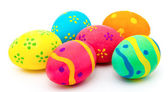 Colorful handmade easter eggs isolated on a white — Stock Photo