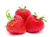 Three perfect red ripe strawberry isolated — Foto Stock