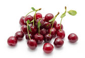 Juicy cherry with leaf isolated  — Stock Photo