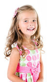 Happy cute little girl in princess dress isolated — Stock Photo