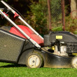 Lawn mower on the lawn mown. — Stock Photo