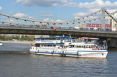 "Restaurant-ship (Restohod) ""Renaissance"" under the ""Crimean bridge."" — Stock Photo"