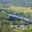 Krylatsky road bridge in the valley of the Moscow River. — Stock Photo