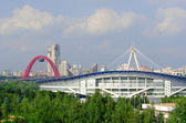 Moskovskoy Sports Palace in Krylatskoye and views of the  Scenic Bridge — Stock Photo