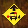Stock Photo: School Bus Stop Ahead Sign