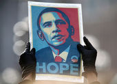 "Obama ""Hope"" Poster by Sheppard Faire — Stok fotoğraf"
