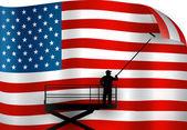 класть вверх американский флаг. — Cтоковый вектор