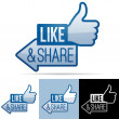 Like and Share Thumbs Up — Stock Vector