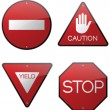 Stock Vector: Stop Yield Do Not Enter Caution Signs