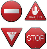 Stop Yield Do Not Enter Caution Signs — Stock Vector