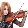 Woman and violin — 图库照片
