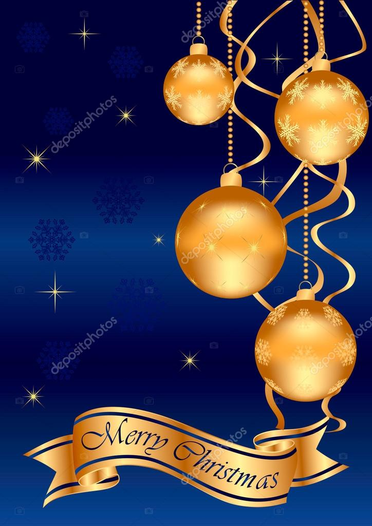 Background with golden balls, snowflakes and ribbon — Stock Vector #13663982