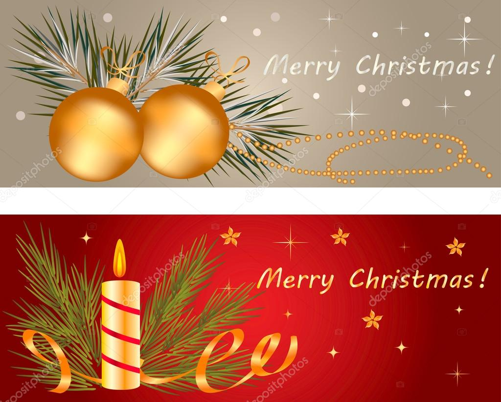 Christmas banner set with holiday elements — Stock Vector #16349701