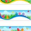 easter banners with colorful easter eggs — Stock Vector