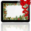 Stock Vector: Tablet PC Christmas gift