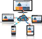 Cloud computing concept design — Stock Vector