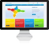 Responsive website template on modern computer — Stock Vector