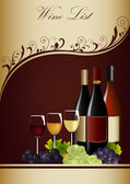 Wine List Menu — Stock Vector