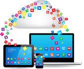 Cloud computing design concept — Vecteur