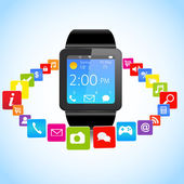 Smartwatch and Application Icons — Stock Vector