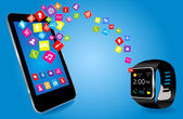 Smartwatch and Smart phone  — Stock Vector