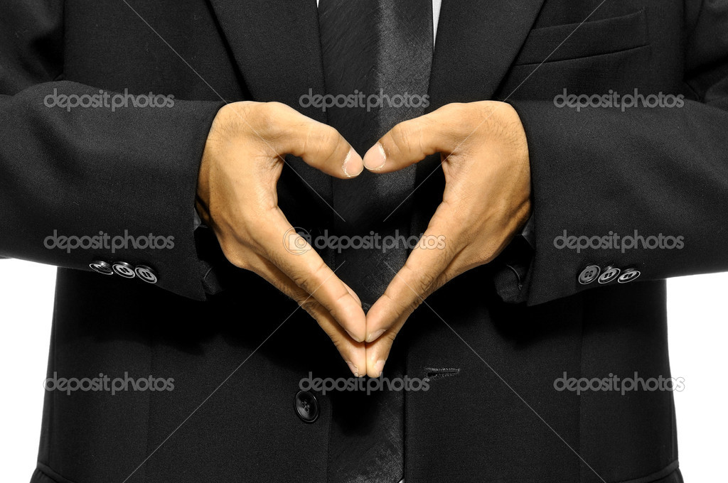 Business man make heart shape with his hand — Stock Photo #12802237