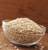 Oatmeal In Glass Bowl — Stock Photo